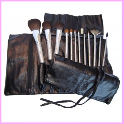 Aline - Set profesional color negro con 12 pinceles color plata